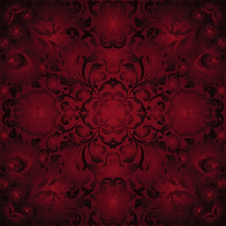maroon background with ornaments - seamless Vector
