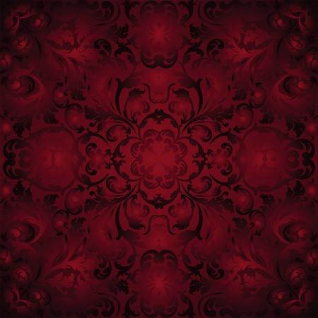 maroon background with ornaments - seamless Векторная Иллюстрация