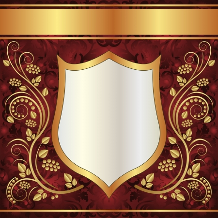ornamental shield: ornate background with goldenl ornaments
