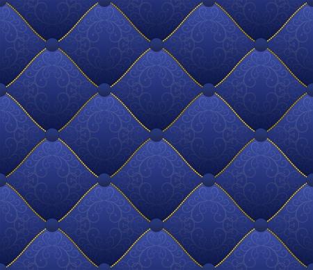 gestickt: blauer Stoff mit Goldf�den bestickt - nahtlose Illustration
