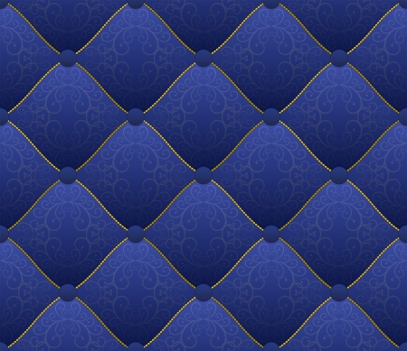 quilted fabric: blue fabric embroidered with gold threads - seamless Illustration