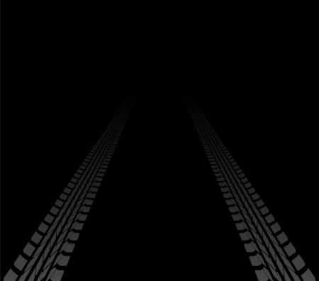 tire tracks leading far away Stock Vector - 15689544