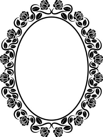 oval border with roses  Illusztráció