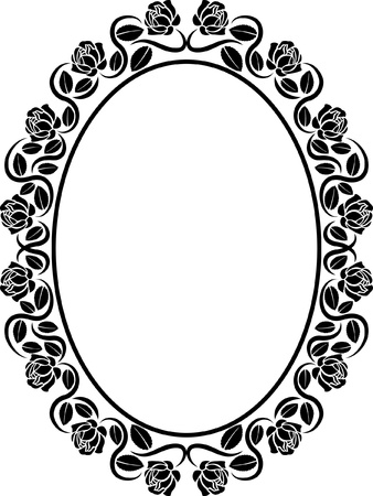 oval border with roses  Vector