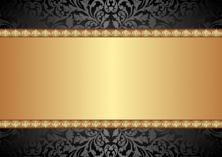 black and gold background with ornaments Vector