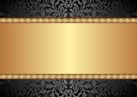 �gold: fondo negro y oro con adornos Vectores