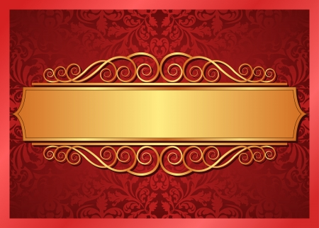 red and gold background with ornaments Stock Vector - 15801798