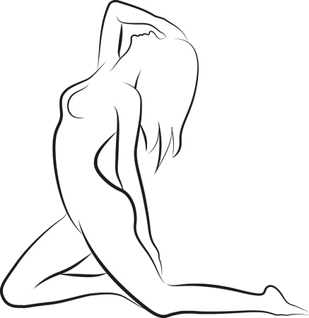 nude woman posing: sketch of a nude woman