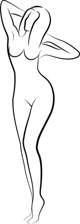 woman nude standing: sketch of nude woman
