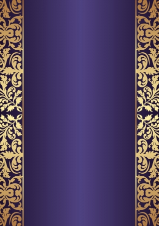 dark blue background with gold ornaments Vector