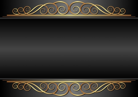 black background with gold ornaments Vector