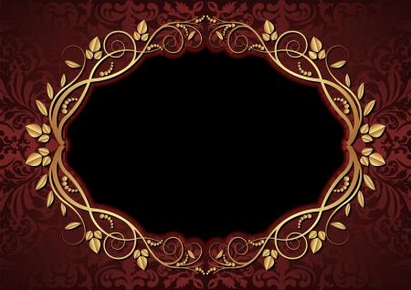 ovalo: fondo marr�n y negro con la frontera floral ovalada