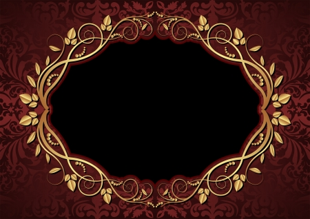 maroon and black background with oval floral border Vector
