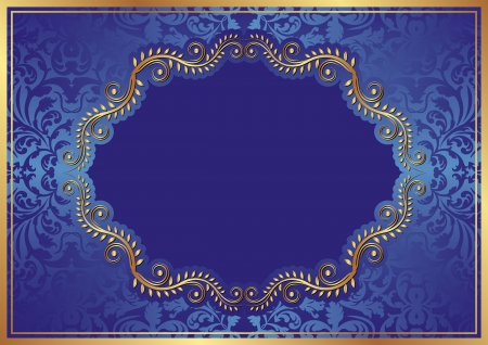 blue background with oval floral border Vector