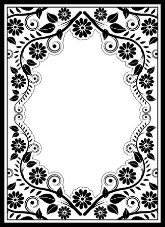 bordure floral: fronti�re floral silhouette - illustration vectorielle