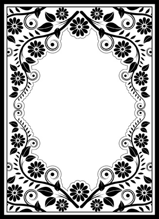 silhouette floral border - vector illustration