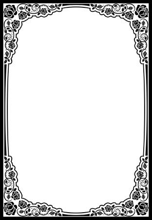 rose frame: silhouette border roses- vector illustration Illustration
