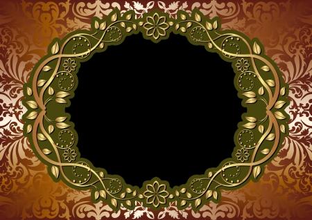 reflect: 타원형의 꽃 테두리 금 갈색 배경