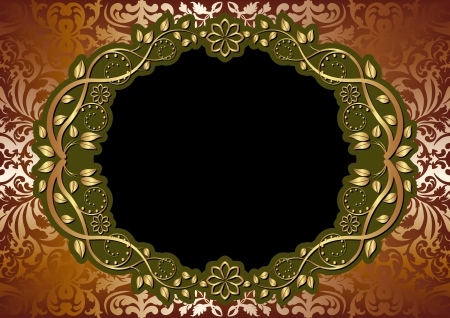 gold brown background with oval floral border Vector