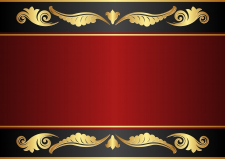 maroon and black background with gold ornaments Vector