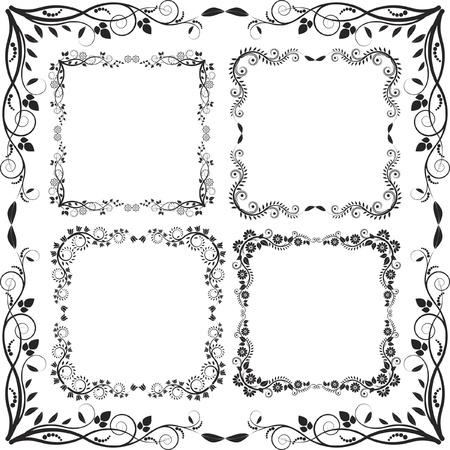 floral border square - set of vectors