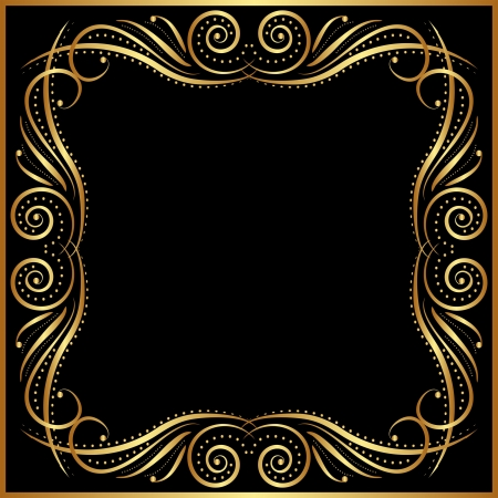 metallic border: black background with gold border Illustration