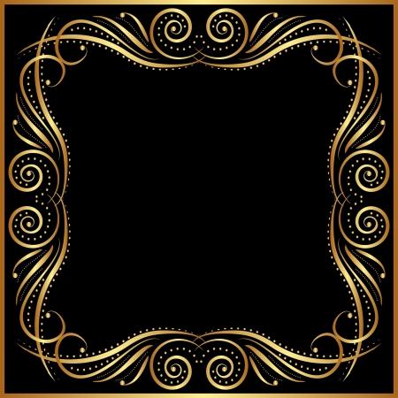 brass plate: black background with gold border Illustration