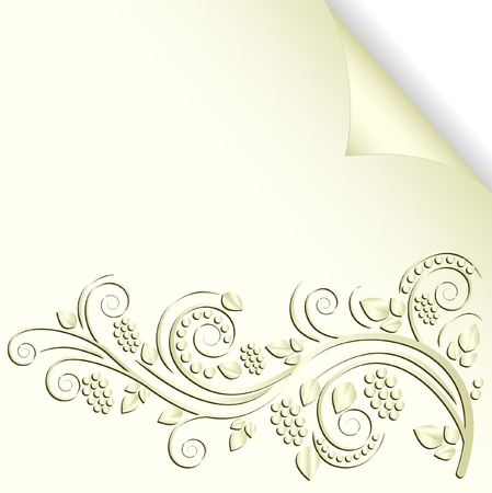brass plate: cream color background with floral ornaments