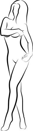 mujer desnuda: Mujer desnuda escondiendo sus senos