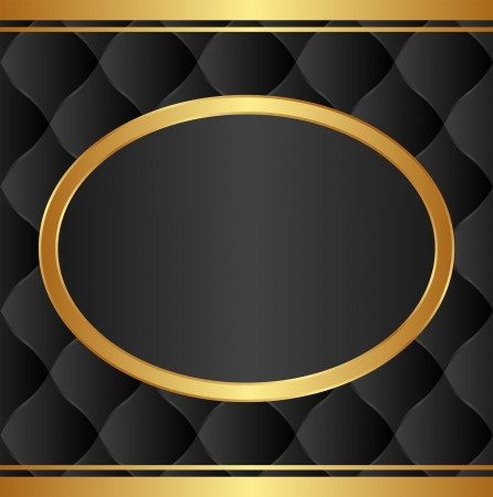 quilted fabric: black background with gold oval frame