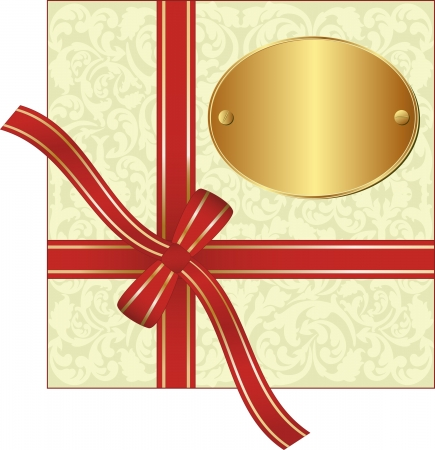 red gift ribbon wrapped around decorative background with copy space Vector