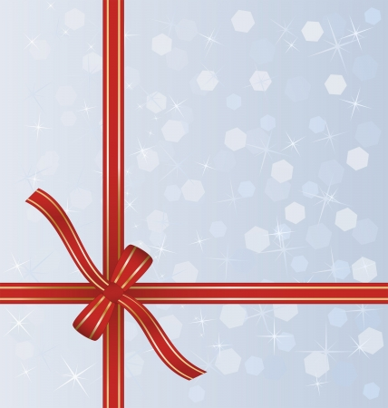 wrapped around: red gift ribbon wrapped around decorative winter background