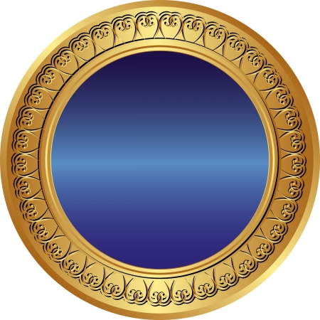 gold and blue background with ornaments Vector