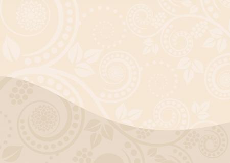beige stof: beige achtergrond met florale ornamenten Stock Illustratie