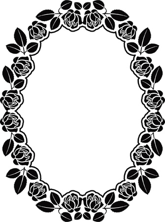 black rose: oval border with roses  Illustration