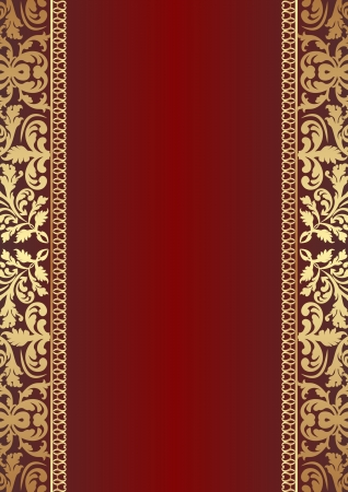 dark red background with gold ornaments Vector