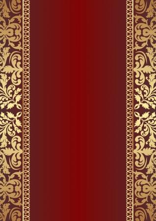 carmine: fondo rojo oscuro con adornos de oro