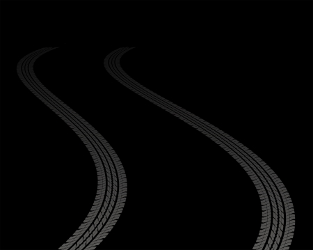 off track: tire tracks leading far away in darkness Illustration