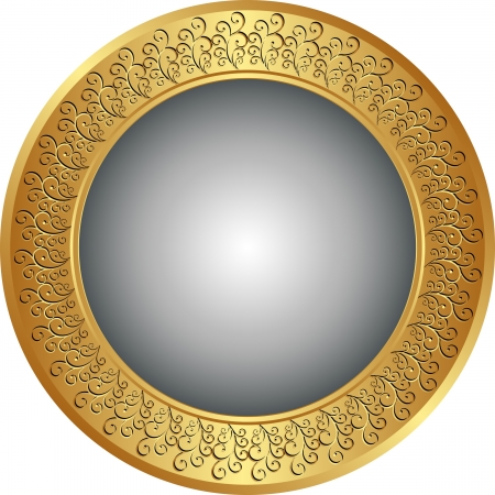 brass plate: round gold and gray background Illustration