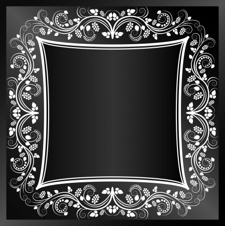 black background with white floral frame Vector