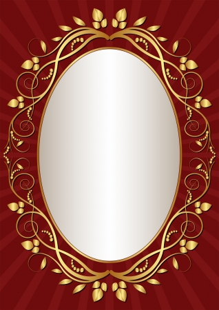 dark red  background with gold oval frame Vector