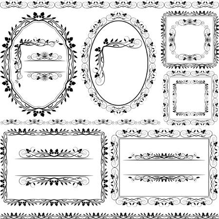 óvalo: marcos, bordes florales y adornos Vectores
