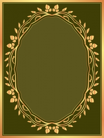 brushed gold: dark green background with gold border Illustration