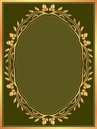fondo verde oscuro: fondo verde oscuro con borde de oro
