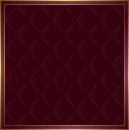 quilted fabric: claret background with golden frame Illustration