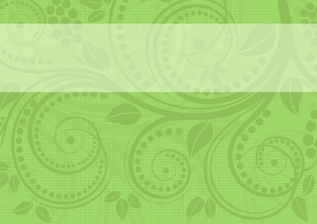 green background: green background with floral ornaments Illustration
