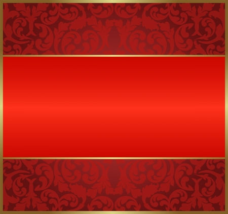 brass plate: red background with floral ornaments