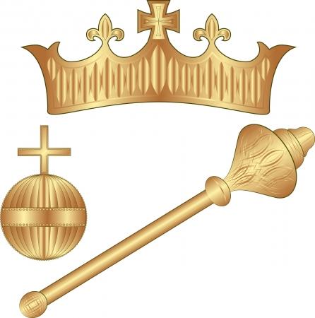 cetro: Crown Regalia - corona, el cetro, el orbe Vectores