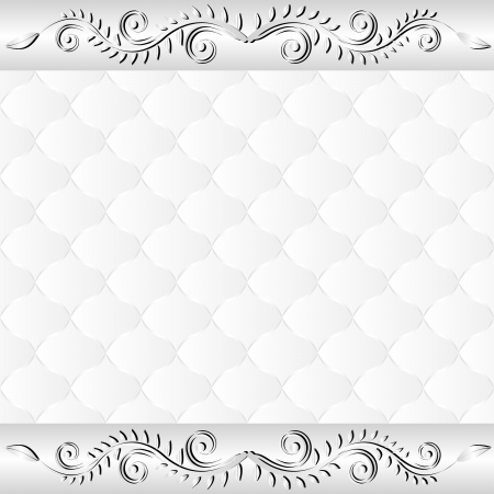 quilted fabric: white background with floral border