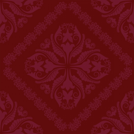 claret red: crimson background seamless with ornaments Illustration